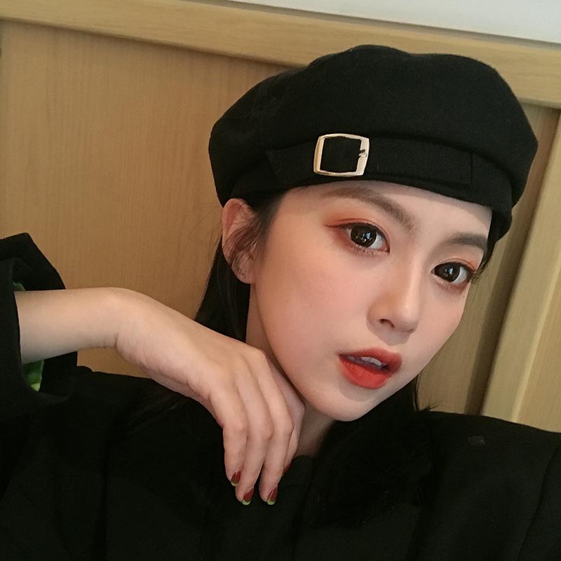 帽子女韩版潮贝雷帽日系春夏英伦复古毛呢八角南瓜帽网红款画家帽图片