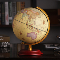 (Shunfeng) will glow the American retro globe table lamp pendant medium 25cm students with high-definition office living room study home furnishings led creative lamp wood base