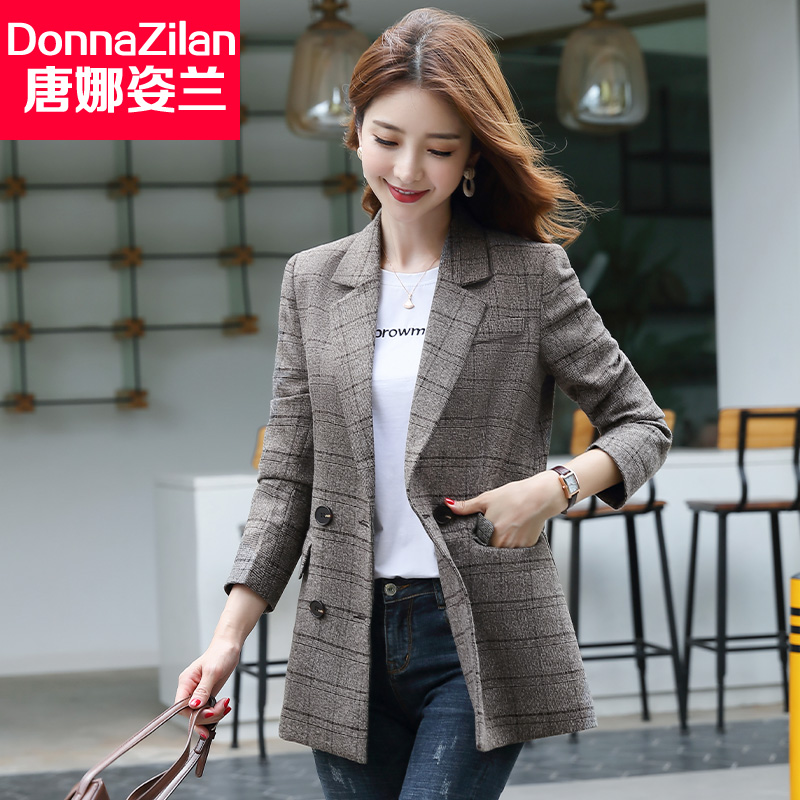 Mid-length plaid suit jacket female British style 2021 new spring and autumn Korean ladies casual all-match small suit