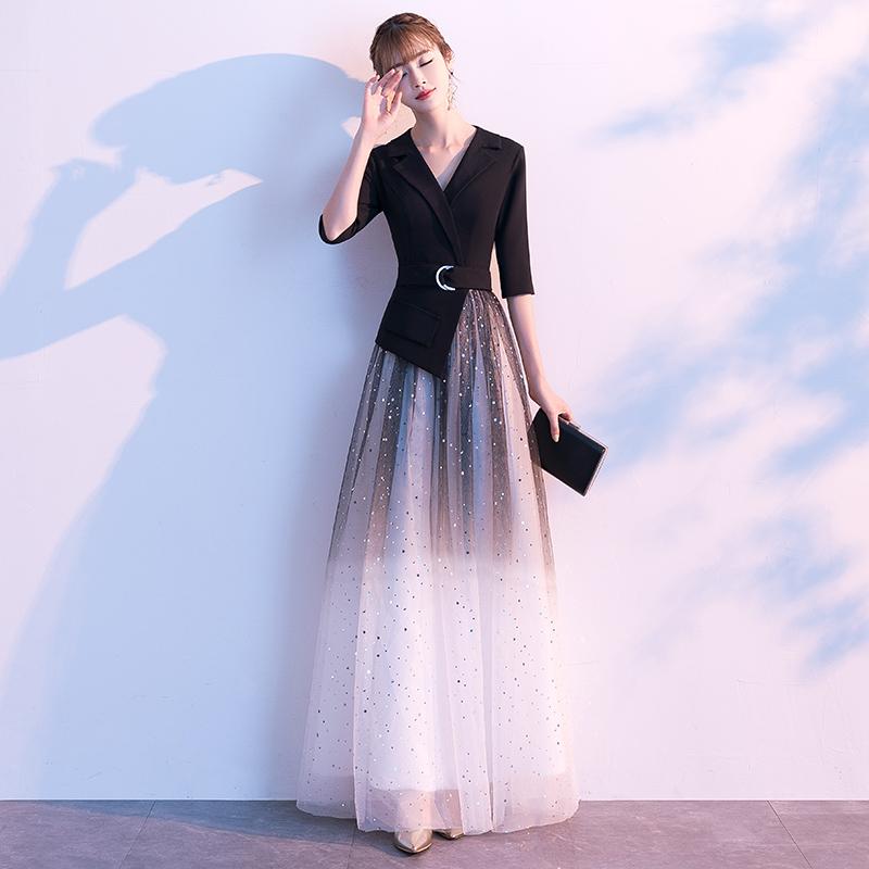 气质宴会晚礼服长款2019新款平时可穿主持人年会演出梦幻星空裙女