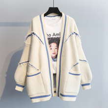 New Korean version of autumn dress in 2019 with loose English letters, fashion and thicker knitting medium and long sweaters, cardigans and jackets