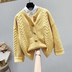 2021秋季新品韩版宽松麻花慵懒风学生毛衣外套开衫女纯色