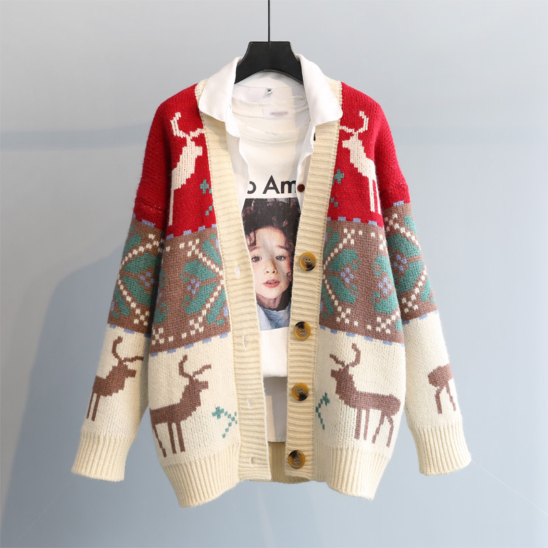 毛衣开衫外套女2021春季新品韩版宽松厚新年红色小鹿提花复古针织