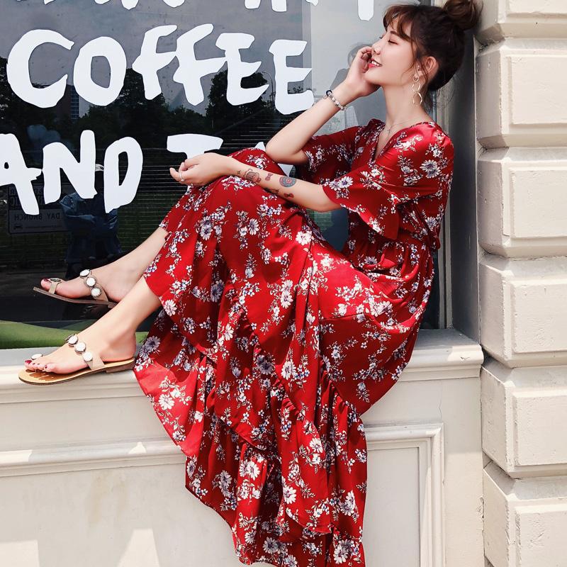 裙子女装夏装2018新款韩版碎花红色雪纺连衣裙慵懒风chic沙滩长裙