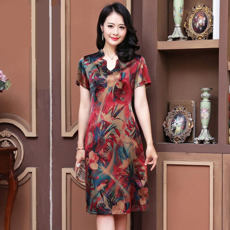 杭州莨绸香云纱大码2019夏装连衣裙满157.86元可用1元优惠券