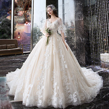 Wedding Dress 2019 Bride Shoulder Sen is a super-fairy, dreamy, large-sized white pregnant woman with tail-tailed luxury