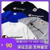 美版Champion经典草写印花logo热卖情侣圆领大码短袖男女宽松t恤