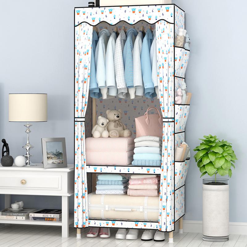 简易布衣柜布艺实木组装宿舍寝室单人儿童租房小号简约现代经济型