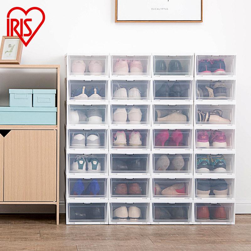 日本爱丽思透明鞋盒塑料前开盖式aj鞋子收纳盒防尘防潮加厚整理箱69.00元包邮