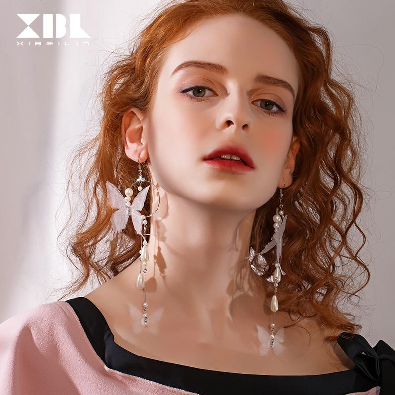 欧美夸张长款蝴蝶仿珍珠个性气质耳环耳钩时尚潮人圆圈创意耳饰品
