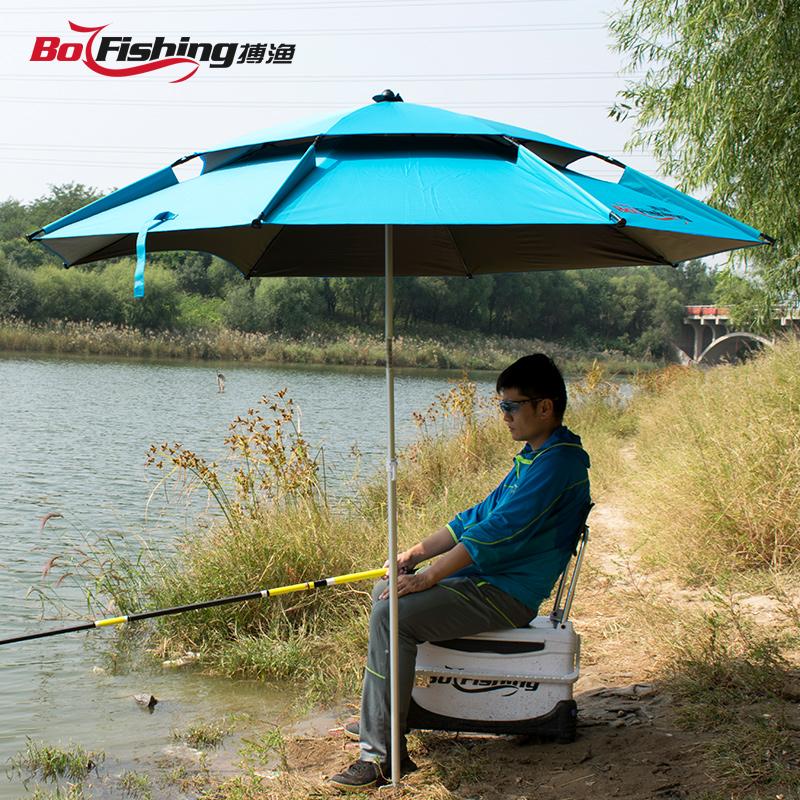 钓鱼伞大钓伞加厚万向双层钓鱼雨伞防风防晒防雨遮阳台钓钓伞渔具