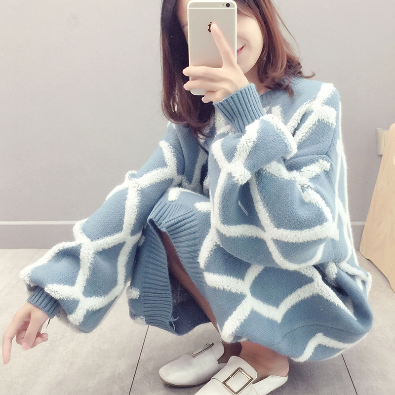 Autumn and winter Korean mid length over knee net red pullover womens sweater skirt loose thickening Plaid knitted dress