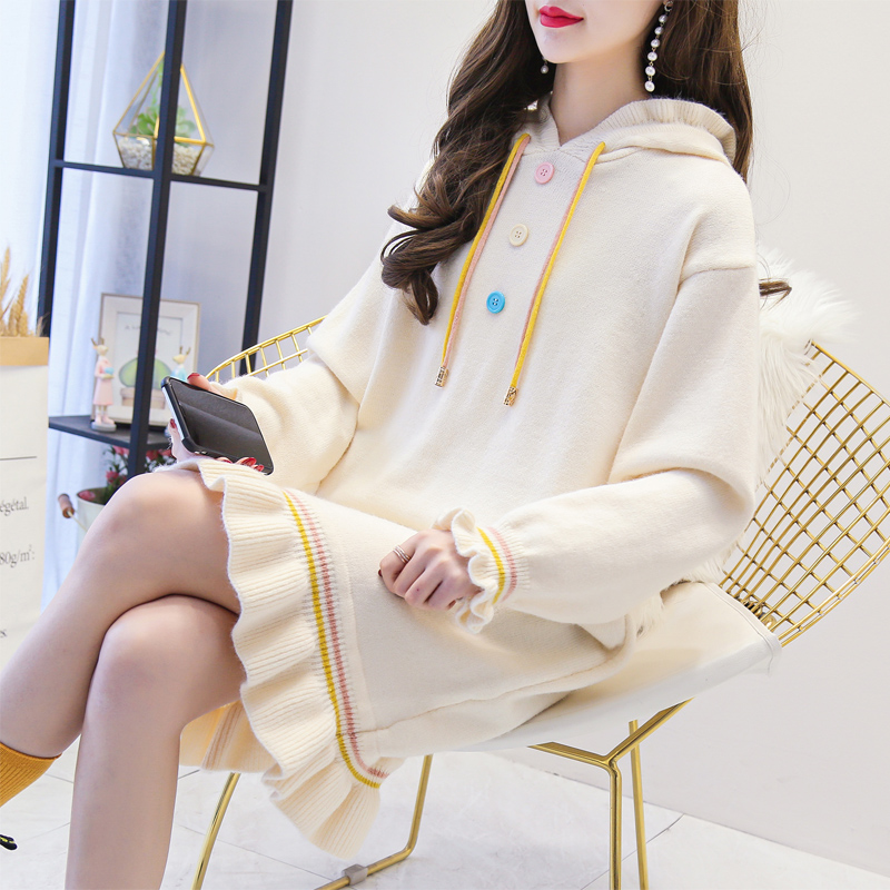 Slouchy style wool dress women autumn and winter new Korean version loose and versatile, knee length hooded, western style knitted fishtail skirt thick