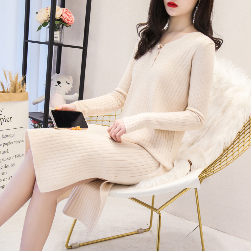 Long over the knee knitted woolen dress for womens pullover in Korean version