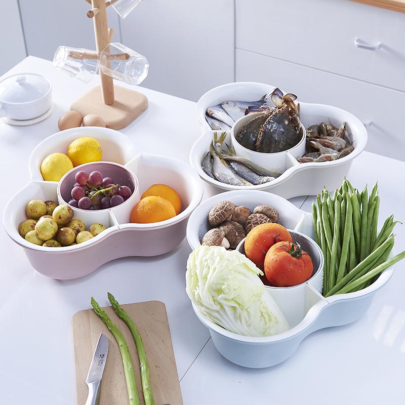 抖音 家用双层洗菜盆洗菜篮子火锅拼盘三角蔬菜拼盘沥水篮水果盘