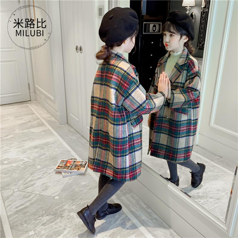 。十岁秋冬季女童外套11-12-13大童女装14到15女孩加厚格子毛呢大