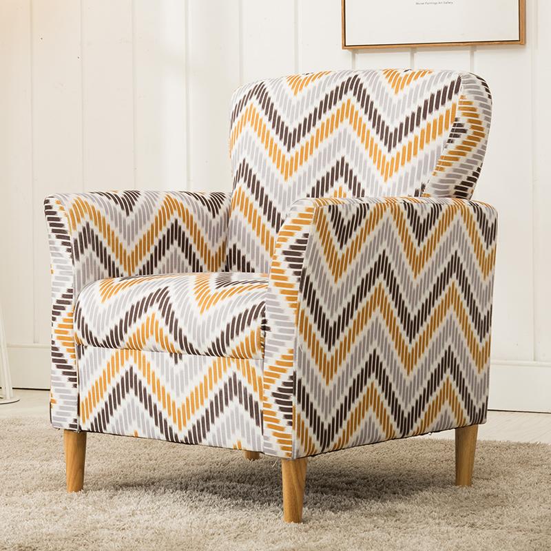 单人沙发布艺北欧客厅沙发美式老虎椅复古沙发电脑椅咖啡厅沙发椅