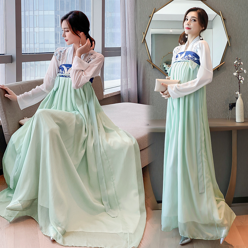 2020 summer new womens fashion embroidered everyday ancient Chinese style two piece suit improved dress long sleeve woman