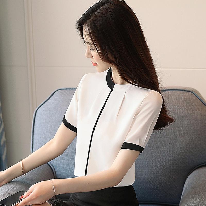 时尚雪纺衬衫气质女装上衣洋气短袖夏装2019年秋新款潮流时尚新品
