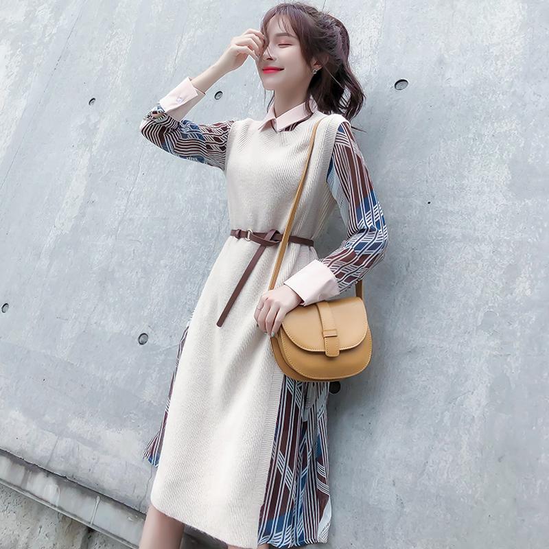 热销608件五折促销长袖连衣裙新款潮2019年秋季女装冬法式复古套装裙两件套洋气时尚