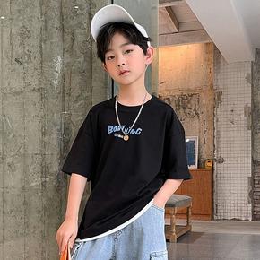 2021夏季新款中大男童装男式夏天男士儿童打底衫纯棉黑色短袖T恤