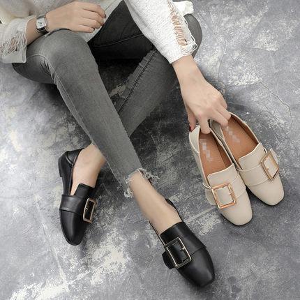 女英伦皮鞋懒人脚一蹬单鞋