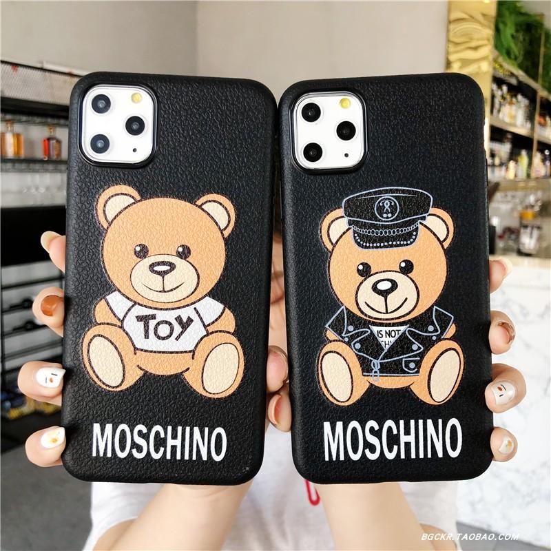 爱心Moschino背带小熊iphoneXS max手机壳苹果11 PRO全包防摔XS潮
