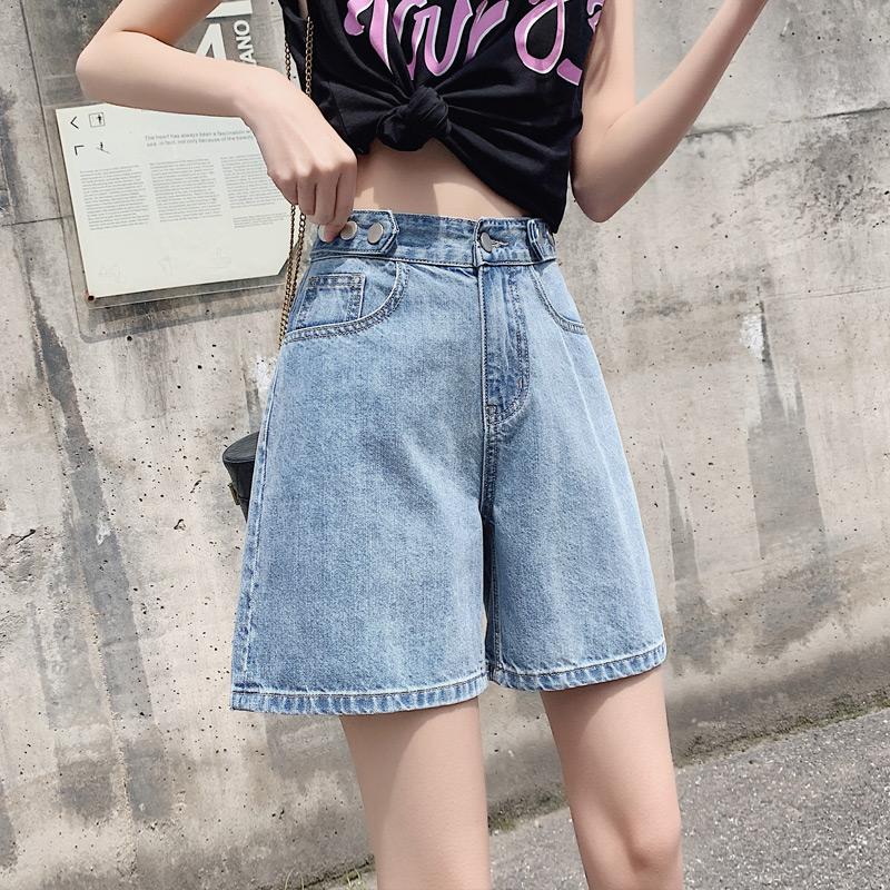 原久美子ins四五分裤女牛仔短裤夏季高腰宽松直筒5分卷边阔腿中裤