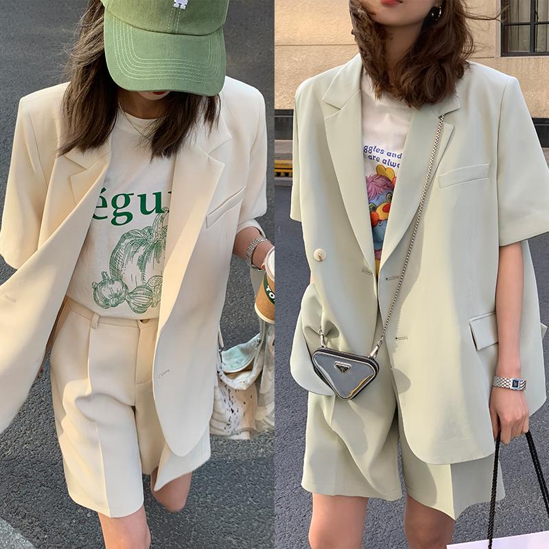 阿一 夏季薄款短袖西装外套女+西装短裤套装休闲宽松小西装两件套