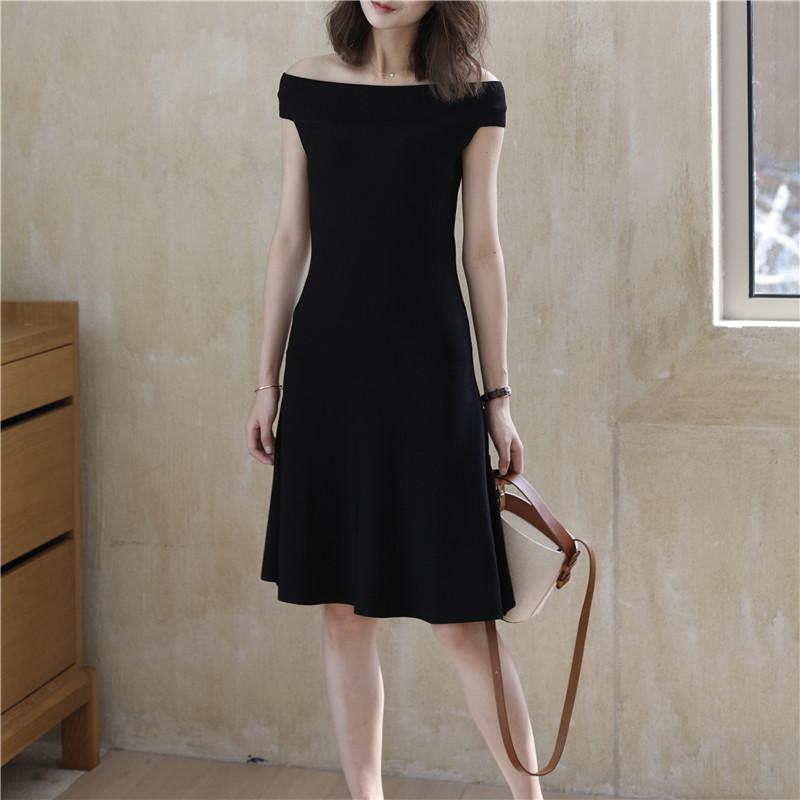 【阿一】甜蜜少女心 一字领百搭连衣裙 秒变好身材针织百褶小黑裙