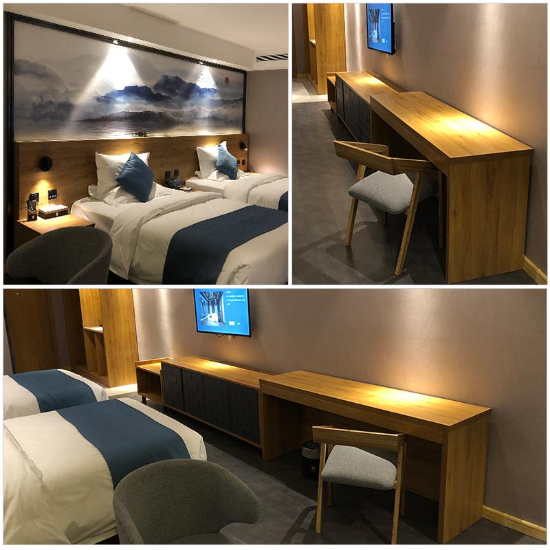 民宿组合套房公寓式双人床定制精品酒店客房母子标间全套家具床