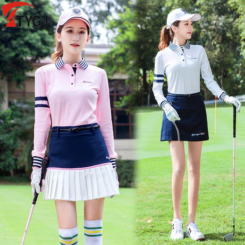 春夏新款 高尔夫球服装 女士长袖球服T恤 韩版条纹翻领运动球衣服
