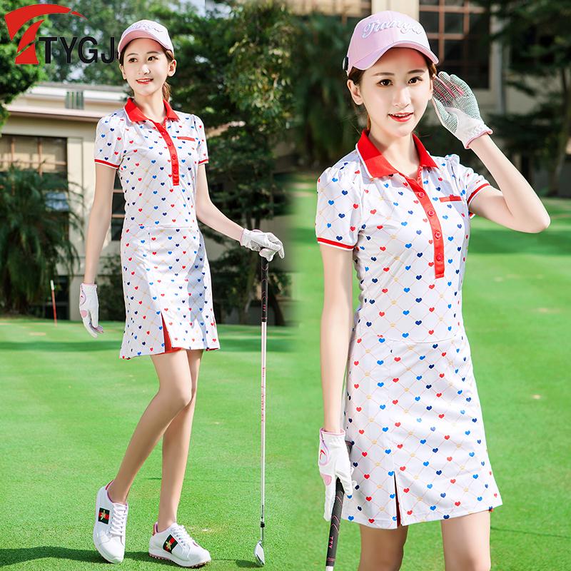 春夏季新款 高尔夫服装 女士连衣裙高腰修身百褶短裙 运动印花裙