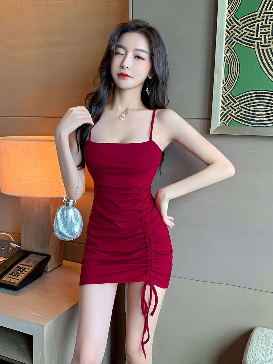 Autumn womens 2021 new style with bottom black suspender dress drawstring pleated tight Hip Wrap Skirt