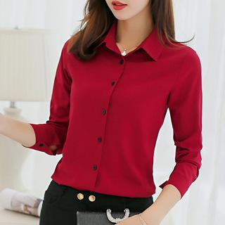 2020秋新款韩版修身大码女装衬衣长袖红色雪纺衬衫个性美女上衣服