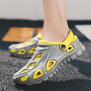 凉鞋男夏季2020新款男士户外防滑运动回力包头沙滩洞洞鞋花园拖鞋