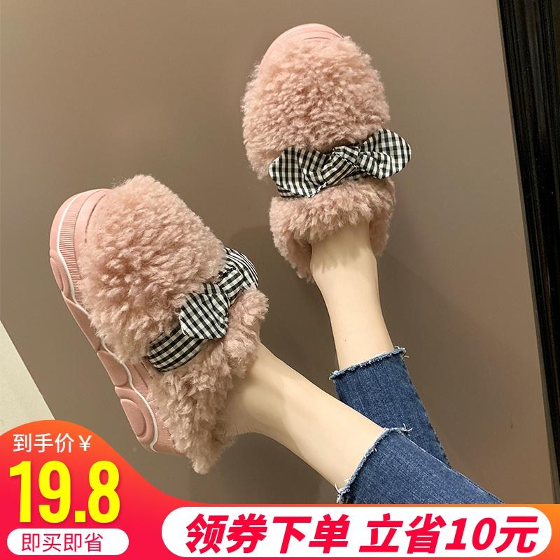 无根懒人鞋女2019新款羊羔毛外穿厚底松糕一脚蹬蝴蝶结包头拖鞋子