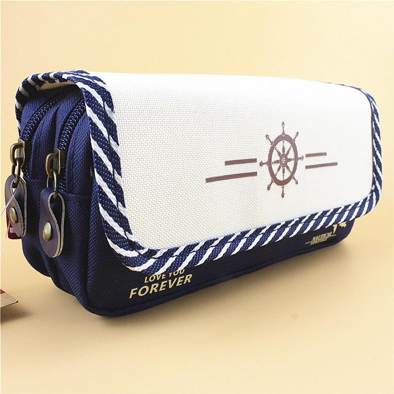 帆布多层大容量长铅笔袋文具盒包 男孩女孩初中小学生创意可爱简约纯色可站立儿童多功能海军风个性小清新