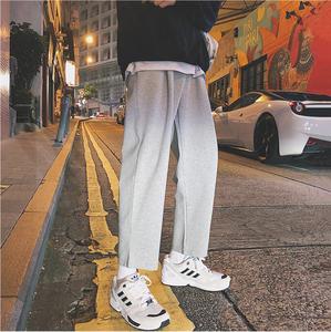 学生运动裤男潮牌宽松九分裤港风裤子ulzzang直筒裤ins垂感阔腿裤