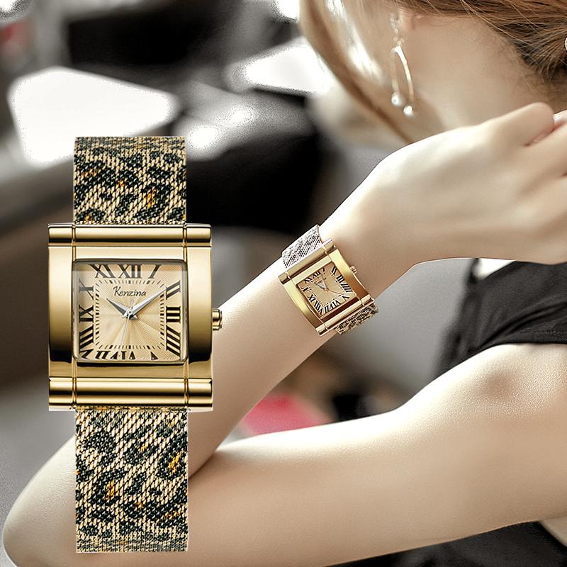歌时娜品牌豹纹手表女款正品名牌女士防水夏季小众方形2021年新款