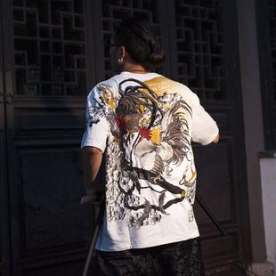 夏季原创三省六部出品男女情侣款圆领短袖T恤 浮世绘公鸡刺绣
