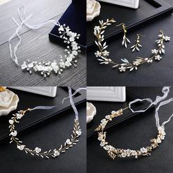 韩式白色手工水晶头饰伴娘新娘婚纱花环发饰韩式珍珠头花发箍发带