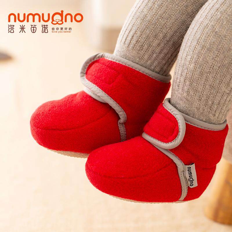 新生婴儿棉鞋0-1岁软底不掉男女学步宝宝鞋 6-12月春冬步前鞋加绒