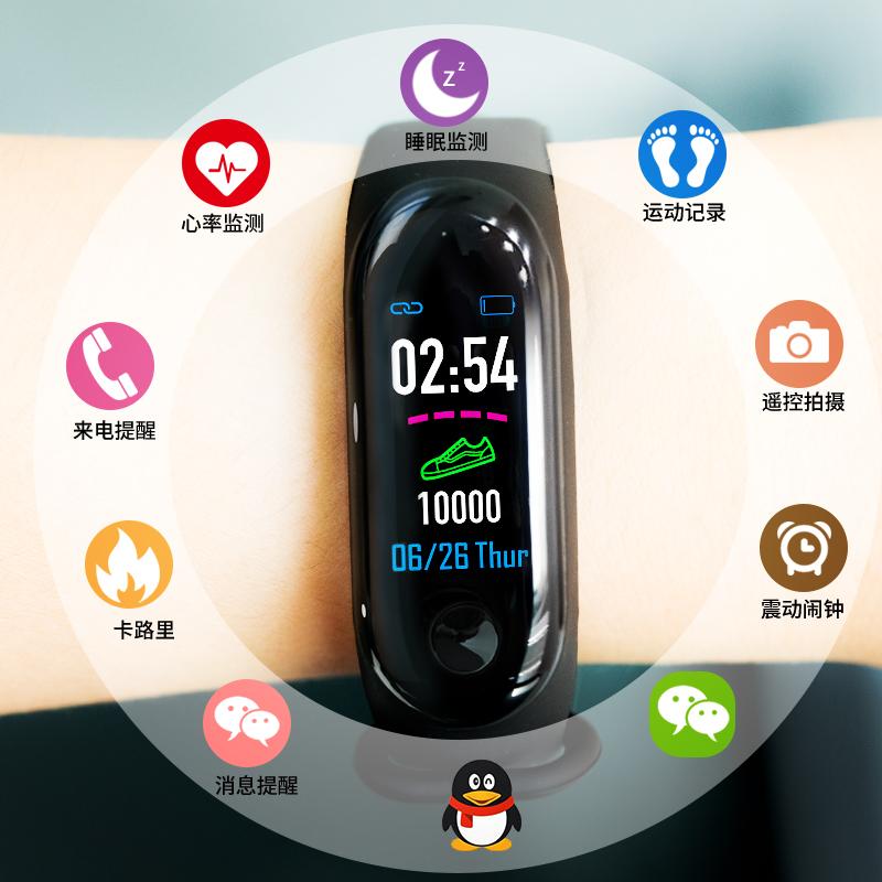 智能运动手环男女蓝牙手表血压监测心率跑步计步器健康多功能电子表m34适用于华为oppo小米vivo安卓苹果手机
