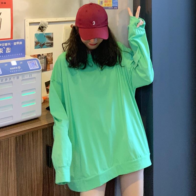 10-29新券夏季韩版超火cec宽松ins网红薄款纯色长袖下衣失踪T恤女学生上衣