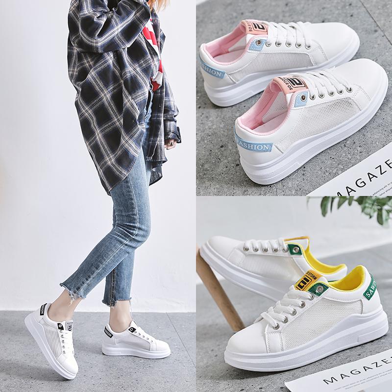2019春夏新款韩版小白鞋透气网鞋低跟平底休闲鞋系带防滑单鞋女鞋