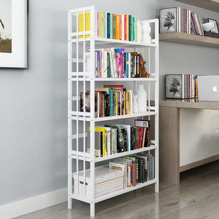 简易白色书架落地书柜置物架简约现代实木儿童学生用桌上楠竹书架价格