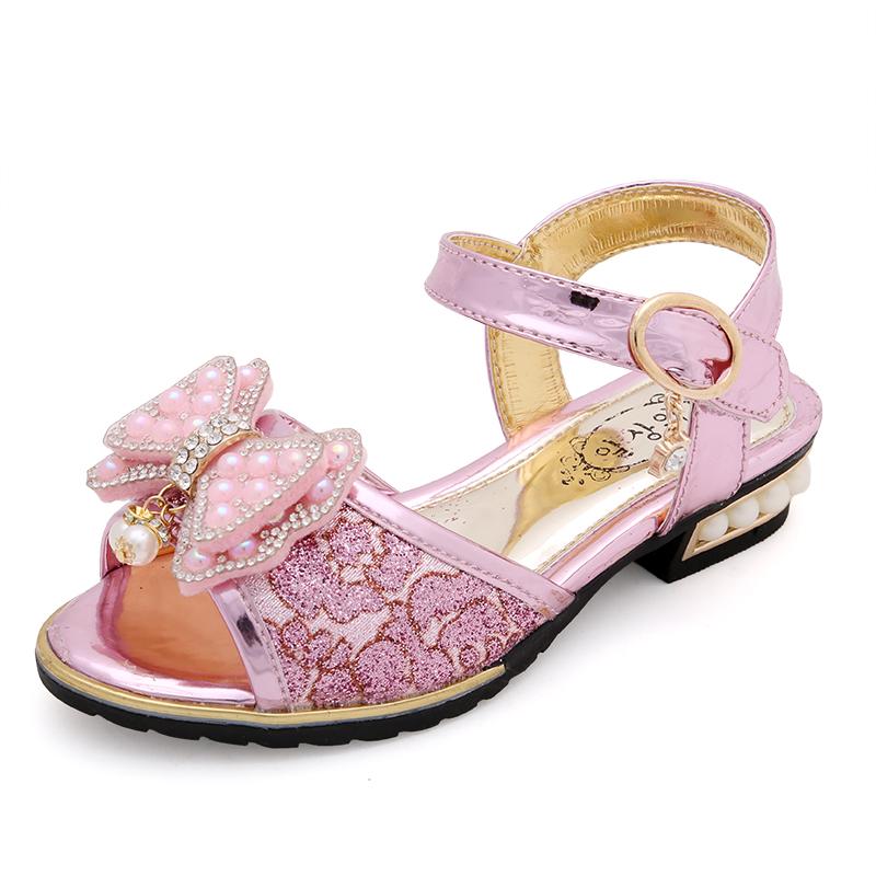 舔舔鼠女童涼鞋2017 中大童涼鞋公主蝴蝶結兒童涼鞋學生鞋