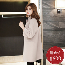 New autumn and winter hand-made double-sided woolen overcoat for women with medium and long loose shoulder sleeves and cashmere woolen jacket for 2018 season