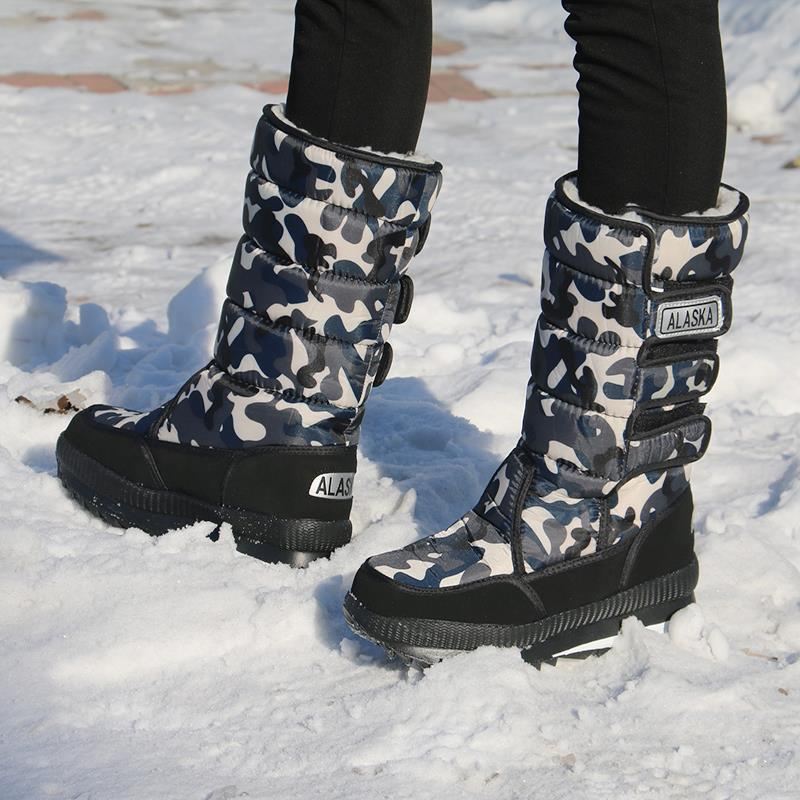 Male and female thick cotton-padded shoes snow boots in the tube warm outdoor equipment Mohe Tourism Harbin Snow Village northeast